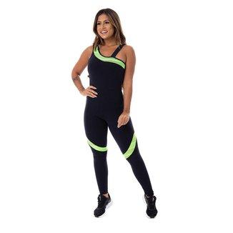 Macacão Fitness Feminino Compressão Detalhe Neon Um Ombro Com Bojo Orbis - PRETO COM VERDE NEOM, M