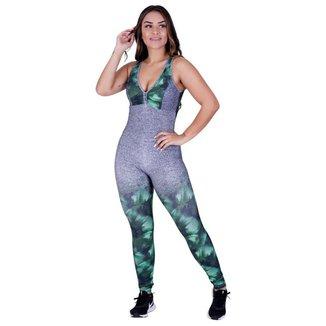 Macacão Fitness Feminino Decote Com Bojo Tiras Costas Fator UV50+ Orbis
