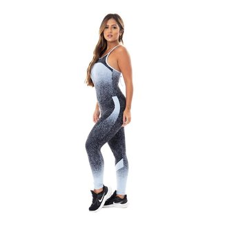 Macacão Fitness Feminino Poliamida Com Bojo Detalhe Trançado Costas Orbis - Degradê preto e azul