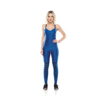 Macacão Fitness Lace Up - Azul - M