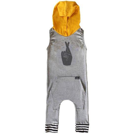 Macacão Infantil Capuz Comfy Dedos - Cinza
