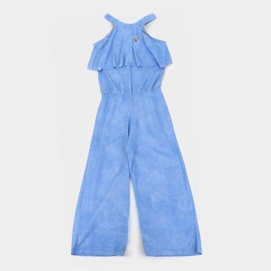 Macacão Infantil Costão Confort Babado Feminino - Azul Claro