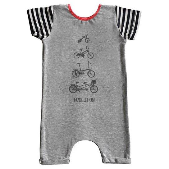 Macacão Infantil Curto Comfy Bike - Cinza
