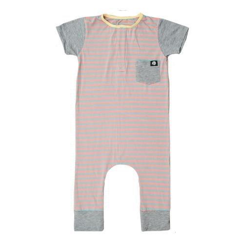 Macacão Rosa com Macacão Botão Listrado Feminina Comfy Infantil Infantil PnIFqw85