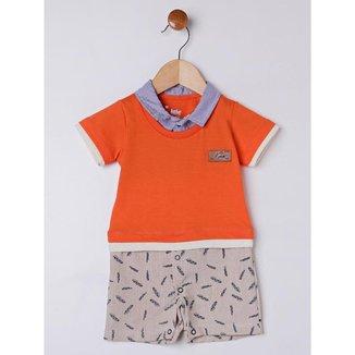 Macacão Infantil Para Bebê Menino - Laranja