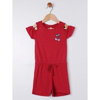 Macacão Infantil Para Menina - Vermelho