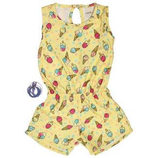 Macacão Infantil Sorvete Amarelo Menina + Cinto