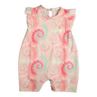 Macacão Infantil Tie Dye Rosa e Verde Menina