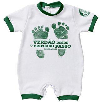 Macacao Infantil Torcida Baby Palmeiras Suedine Curto Primeiro Passo