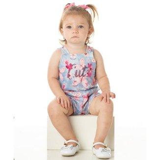 Macacão Infantil Verão Bebê Menina Borboletas Azul - Quebra Cabeça