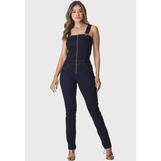 Macacão Jardineira Jeans HNO Jeans Longo Azul Escuro