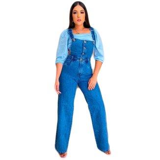 Macacão Jeans Calça Pantalona Wide Leg Botões Frontais Alça Regulável