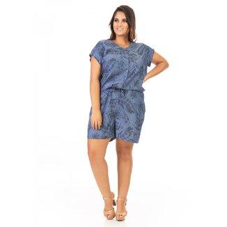 Macacão Jeans Confidencial Extra Plus Size Feminino