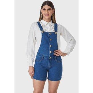 Macacão Jeans Curto HNO Jeans Maquinho Azul