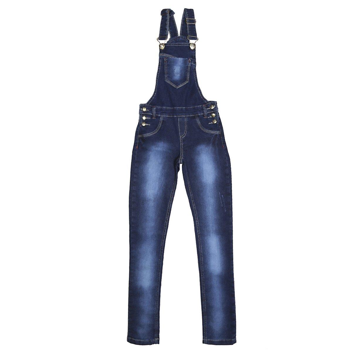7b12aedf0 Macacão Jeans Juvenil Para Menina Jardineira Azul - Compre Agora ...