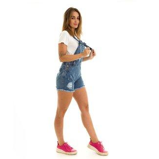 Macacão Kassis Jeans de Alcinha com Puídos