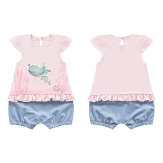 Macacao Kiko Baby Bebe Feminino P-m-g Rosa Com Azul Claro