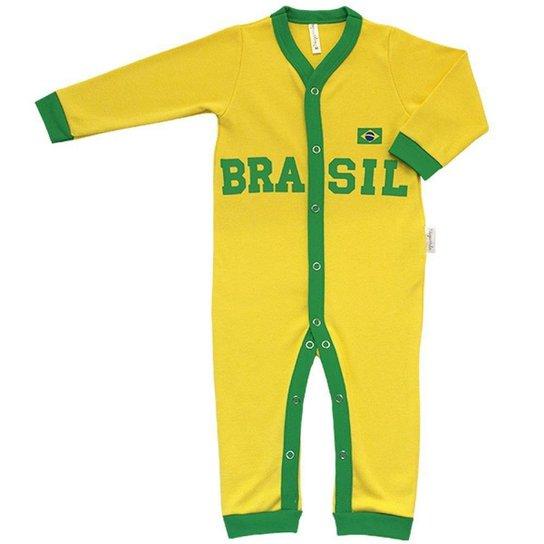 Macacão Longo Aberto em Suedine Brasil Nigambi  Verde e Amarelo - Amarelo