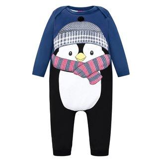 Macacão Longo Bebê Kyly Pinguim Cotton