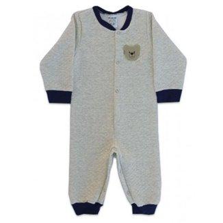 Macacão Longo Bebê Menino em Matelassê, Cinza Claro e Azul, Urso - Fantoni