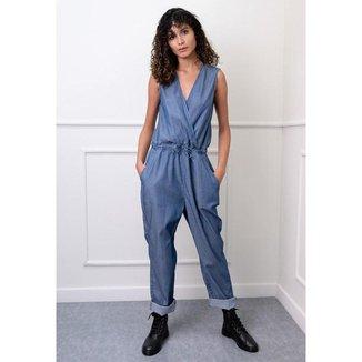 Macacão Longo em Jeans Liso Transpassado Azul