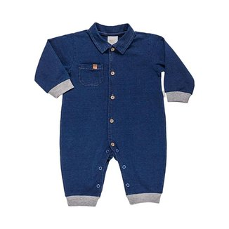 Macacão Longo Em Malha Jeans - Anjos Baby