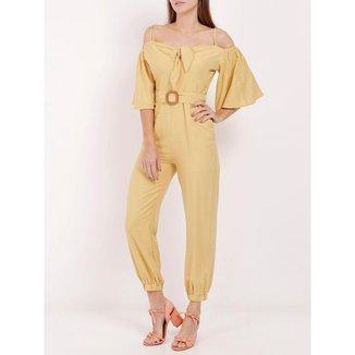 Macacão Longo Feminino Amarelo