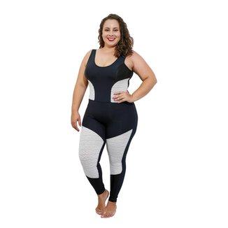 Macacão Longo Life Fitness Plus Size - Preto e Mesh Branco - G3