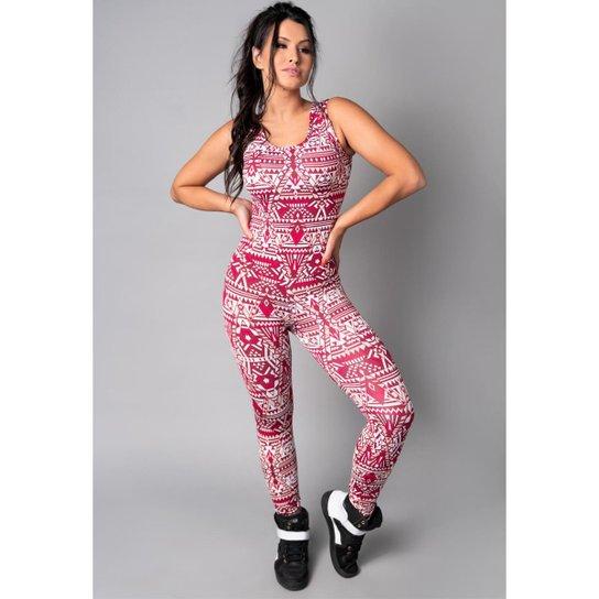 Macacão Longo Suplex Estampado Fitness Academia Feminino - Branco+Rosa