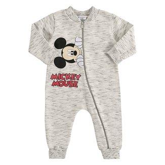 Macacão Moletom Bebê Disney Mickey Mouse Peluciado Masculino