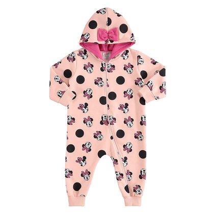 Macacão Moletom Bebê Disney Minnie Poá Feminino