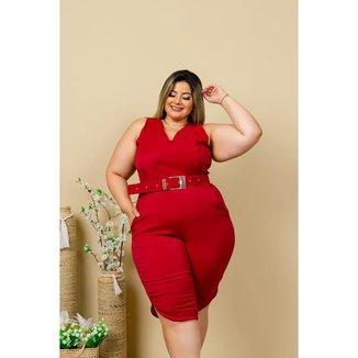 Macacão Pantacourt Plus Size com Cinto Roupa Feminina Moda Plus Size