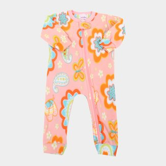 Macacão Pijama Bebê Candy Kids Soft Fleece Manga Longa Feminino
