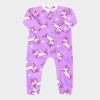 Macacão Pijama Bebê Candy Kids Soft Fleece Unicórnio Feminino