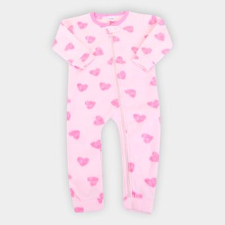Macacão Pijama Longo Bebê Candy Kids Soft Fleece Feminino