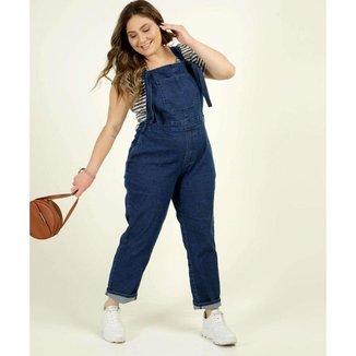 Macacão Plus Size Feminino Jeans Amarração - 10047892774
