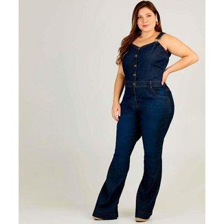 Macacão Plus Size Feminino Jeans Flare - 10043427321
