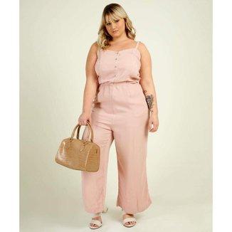 Macacão Plus Size Feminino Pantalona Alças Finas - 10047854024