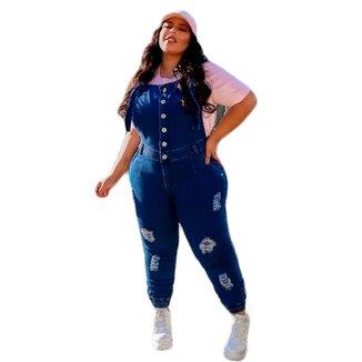 Macacão Plus Size Jeans Calça Botões Alça Regulável Destroyed