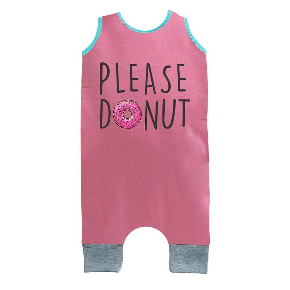 Macacão Infantil Feminino Regata Macacão Donuts Rosa Comfy Regata PSOUqwq