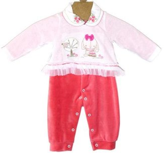 Macacão Rosa Infantil Menina Gola Bordada Ki-Baby