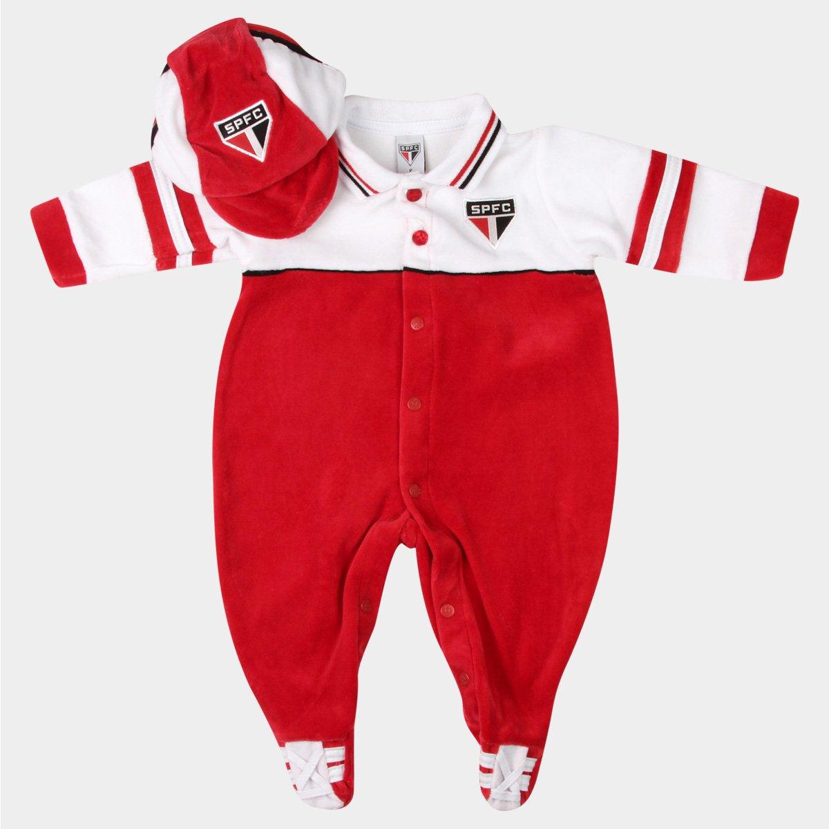 Macacão São Paulo Bebê Plush Esportivo - Vermelho e Branco - Compre Agora  5ecc289662a