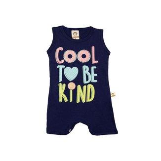 Macaquinho Bebê Menina Cool To Be Kind Marinho – Minitune