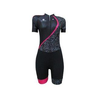 Macaquinho Ciclismo AtivoBike Premium Floral Feminino