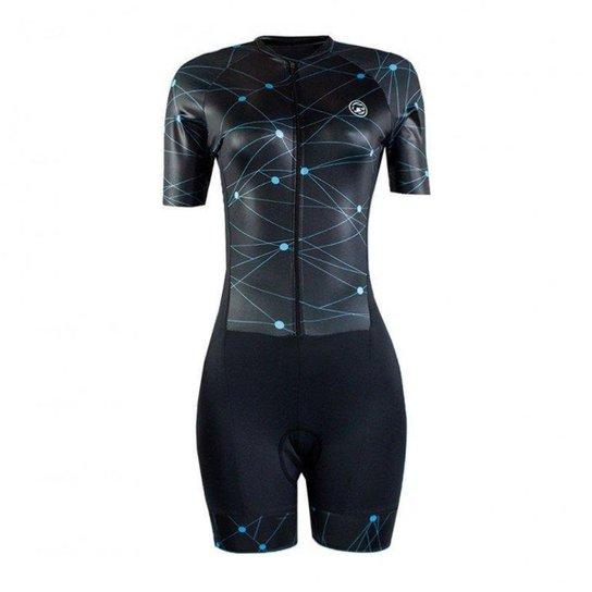 Macaquinho Ciclismo Barbedo Feminino Reno Manga Curta Preto - Preto+Azul