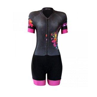 Macaquinho ciclismo Be Fast Caveira Mexicana Forro em Gel Feminino
