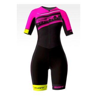 Macaquinho Ciclismo Feminino ERT New Elite Gel Team Rosa