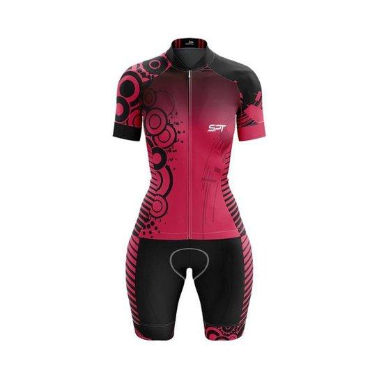 Macaquinho Ciclismo Spartan Spt Manga Curta Proteção UV Ref 03 - Rosa
