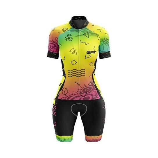 Macaquinho Ciclismo Spartan Spt Manga Curta Proteção UV Ref 08 - Amarelo
