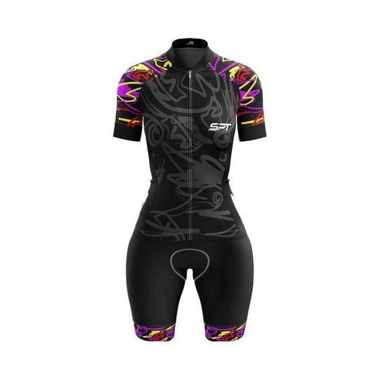 Macaquinho Ciclismo Spartan Spt Manga Curta Proteção UV Ref 09 - Preto